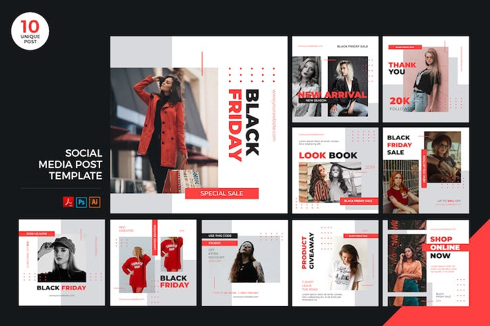 Thumbnail for Black Friday Social Media Kit PSD & AI