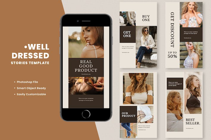 Thumbnail for Well Dressed Fashion Instagram Stories Template