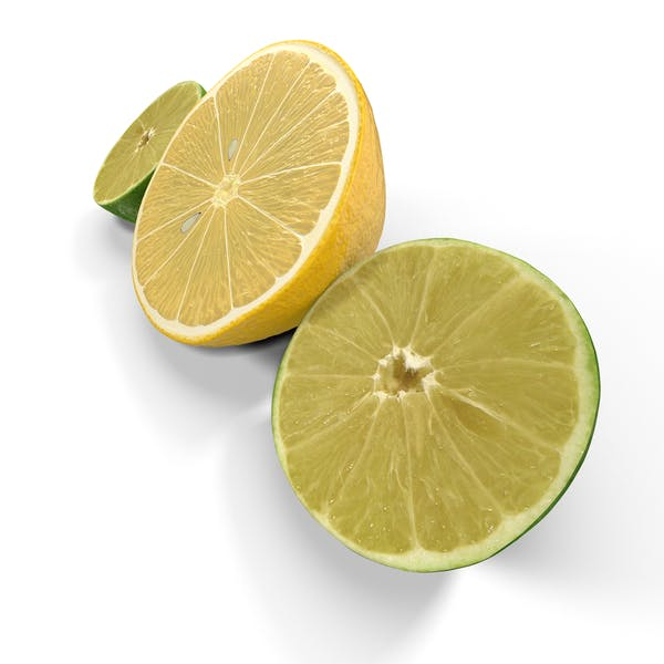 Zitrone und Limette halbiert