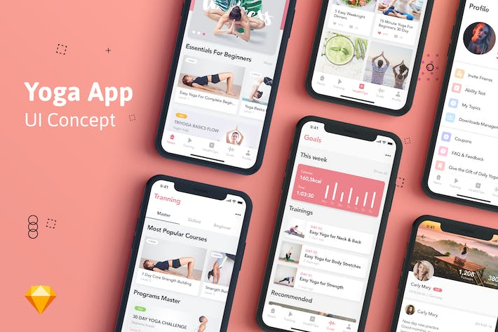Thumbnail for Yoga Fitness App UI Kit for SKETCH