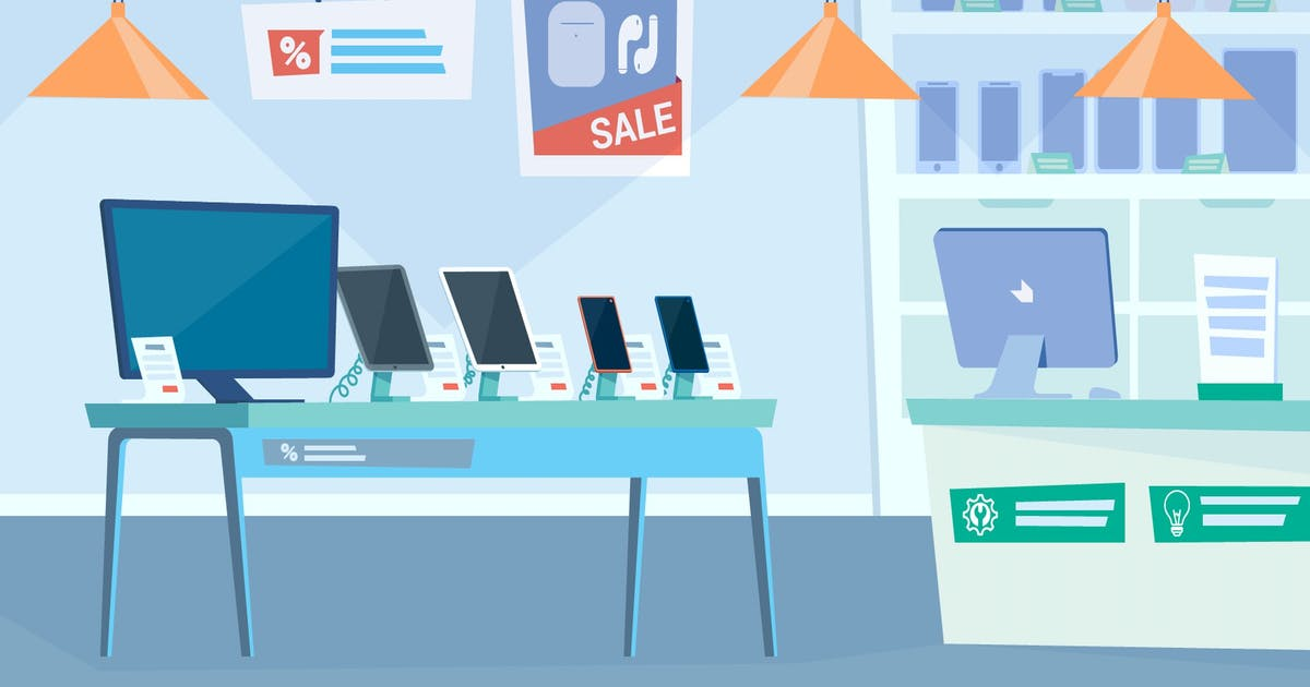 Download Gadget Shop - Illustration Background by Imapix_
