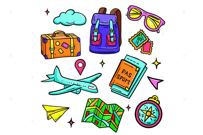 Thumbnail for Travel and vacation - vector isolated stickers set