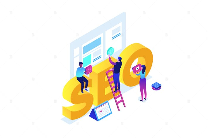 Cover Image For Seo optimization - colorful isometric illustration
