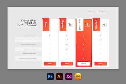 Mandarin – Pricing Table Design