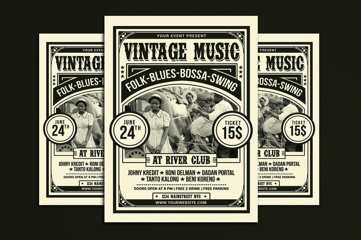 Cover Image For Vintage Music Flyer