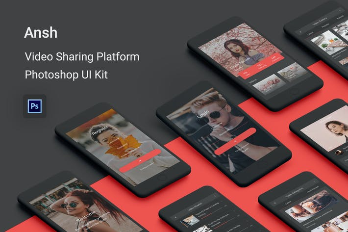 Thumbnail for Ansh - Video Sharing Platform Photoshop UI Kit