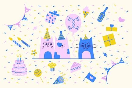 Gatito de cumpleaños