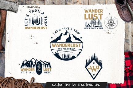 Wanderlust Logo Retro Camping Badge Travel TShirt