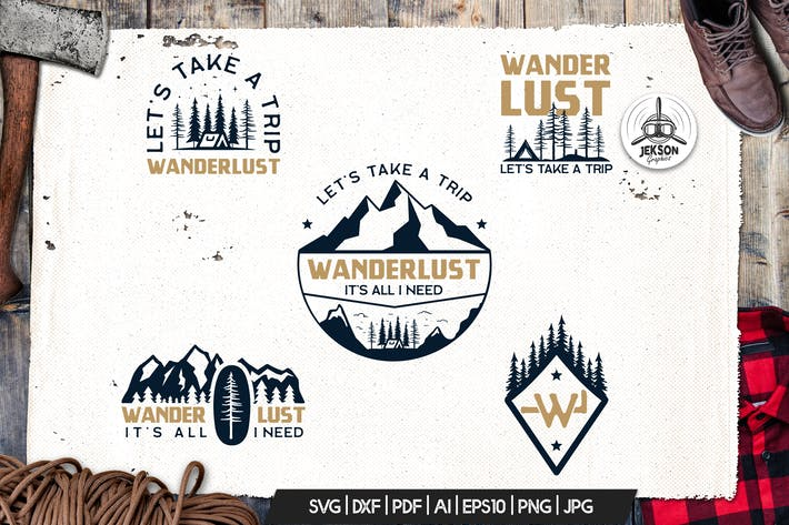 Thumbnail for Wanderlust Logo Retro Camping Badge Travel TShirt