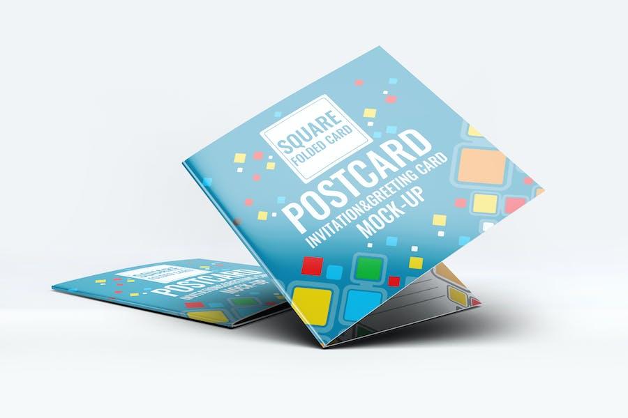 Square Invitation Greeting Card Mock-Up