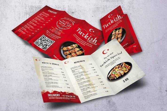 Turkish Cuisine Trifold A4 & US Letter Menu