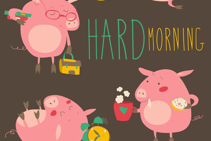 Thumbnail for Funny pigs about hard awaking with coffee mugs