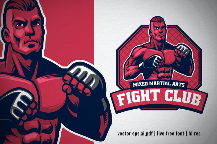 Thumbnail for MMA fight club logo with fighter posing