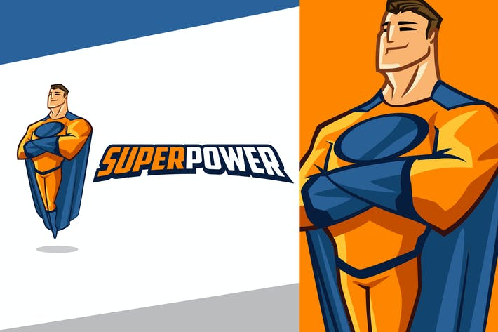 Smiling Superhero Mascot Logo