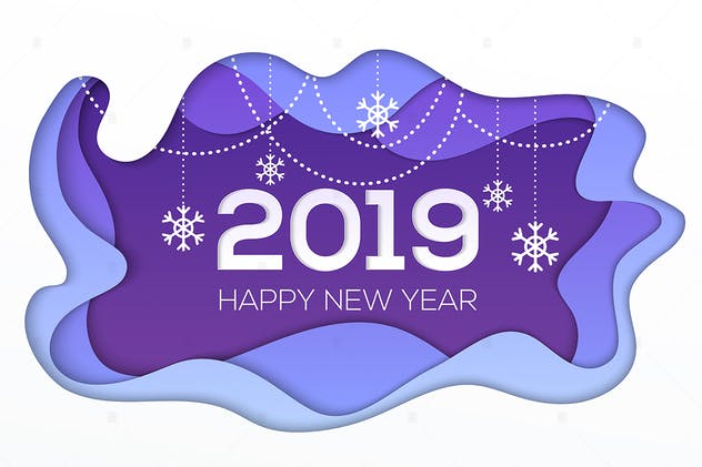 Happy New Year 2019 - paper cut illustration