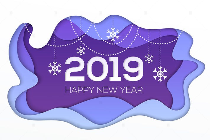 Cover Image For Happy New Year 2019 - paper cut illustration