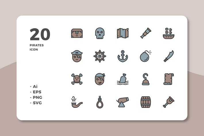 Cover Image For 20 Pirates Icons (Lineal Color)