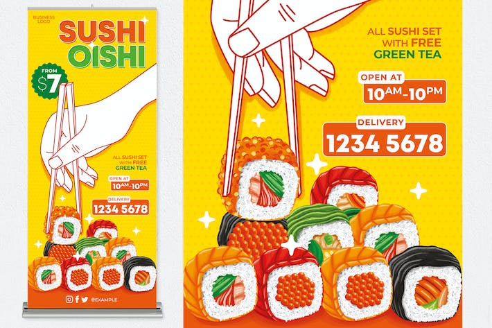 Thumbnail for Sushi Oishi Roll Up Banner