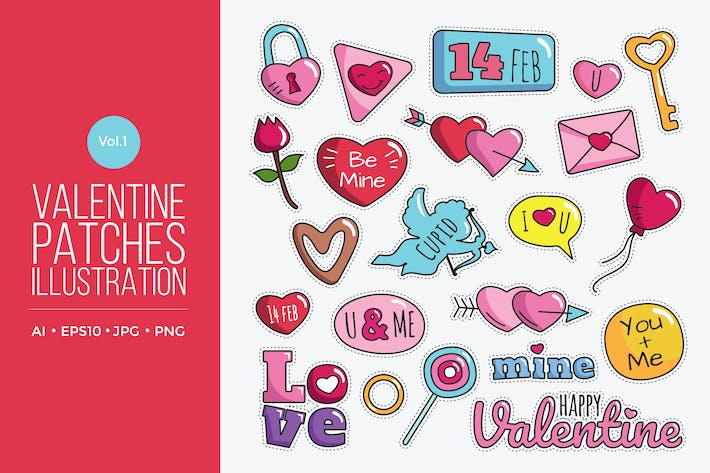 Thumbnail for Cute Happy Valentine Patches Vol.1