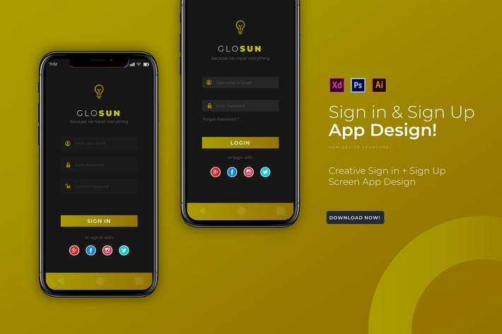 Thumbnail for Closun Login | App Design Template