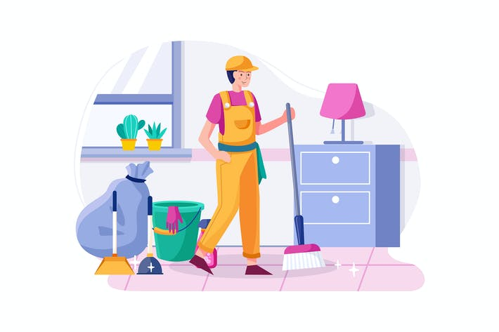 Thumbnail for Cleaning service concept illustration.