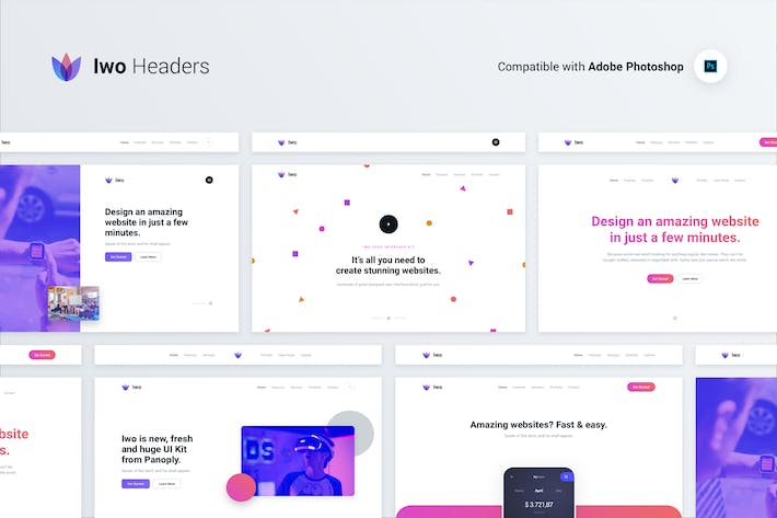 Iwo Web Ui Kit Headers Covers Psd Photoshop By Panoplystore On Envato Elements