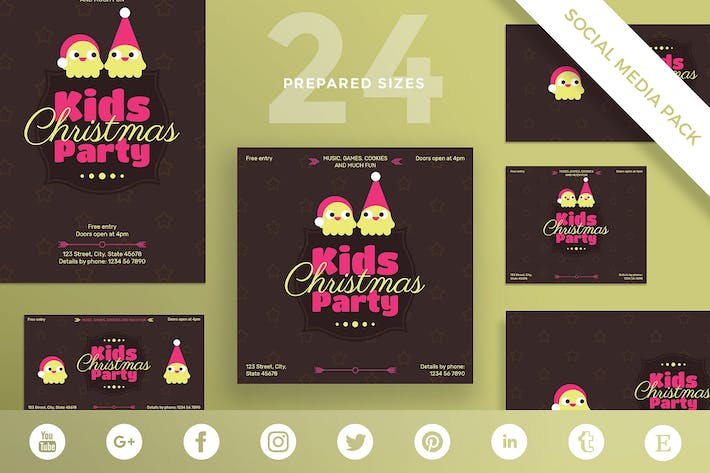 Kids Christmas Party Social Media Pack Template