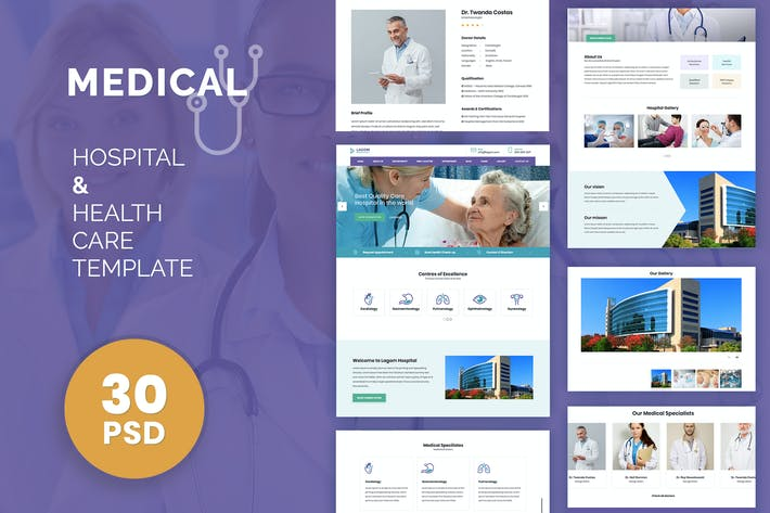 Thumbnail for Medical: Treatment Institute Hospital PSD Template
