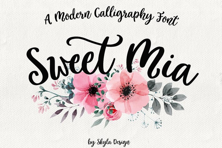 Thumbnail for Modern calligraphy font, Sweet Mia