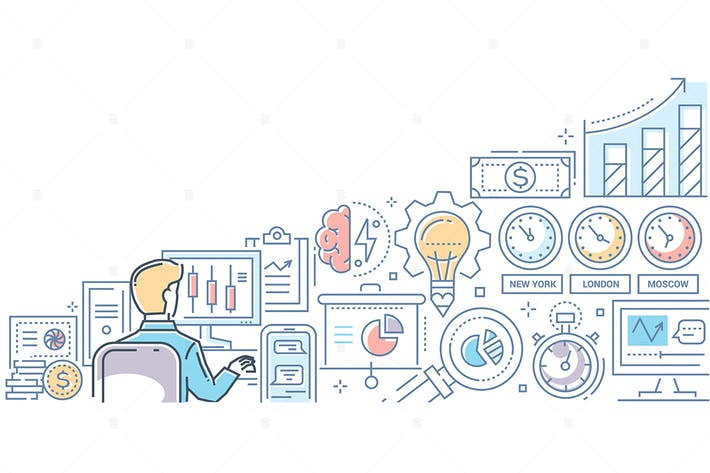 Thumbnail for Stock exchange - line design style illustration