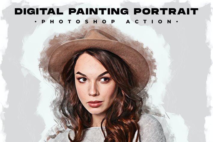 Thumbnail for Digital Painting Portrait - Photoshop Action