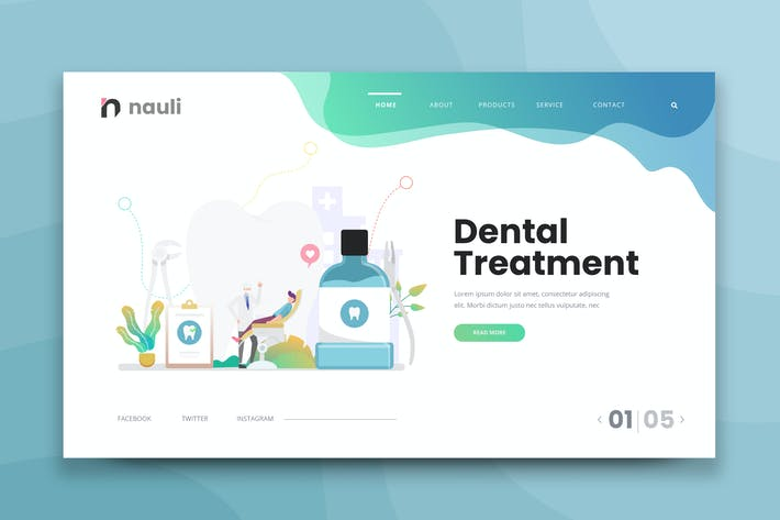 Thumbnail for Dental Treatment Web PSD and AI Vector Template