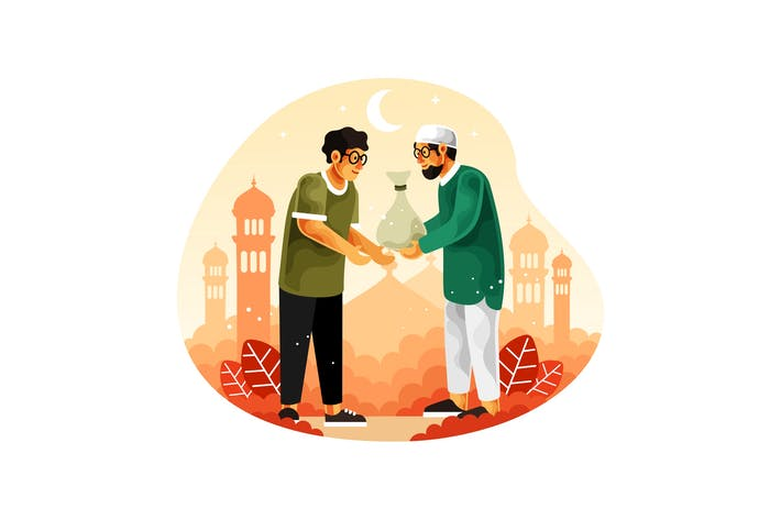 Thumbnail for Muslims give alms or zakat in the month of Ramadan