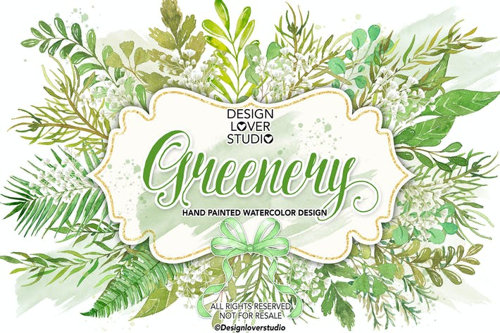 Thumbnail for Watercolor GREENERY clip arts