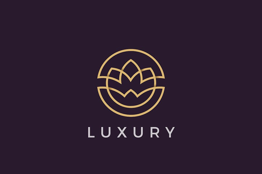 Flower Logo Circle Luxury Cosmetics Beauty Fashion