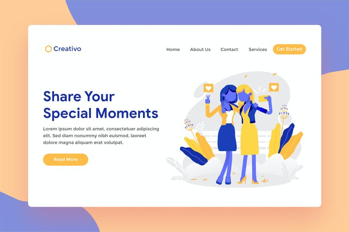 Thumbnail for Special Moment Selfie Web Landing Page Illustratio