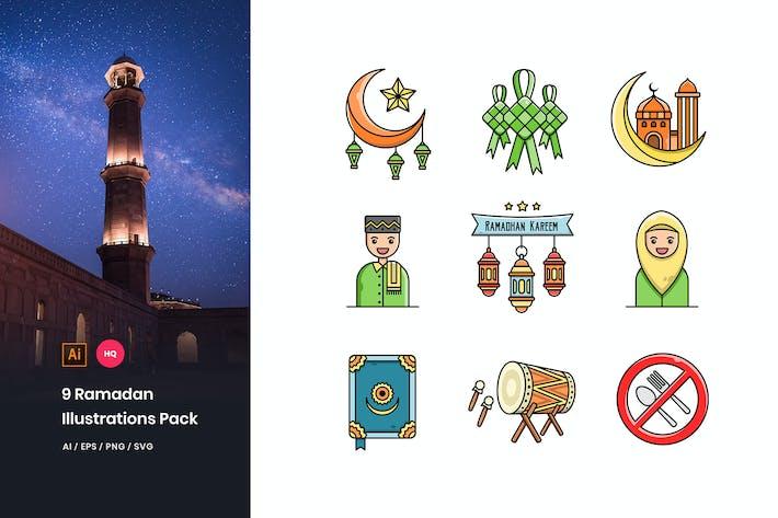 Thumbnail for Ramadan Mubarak Illustrations Pack