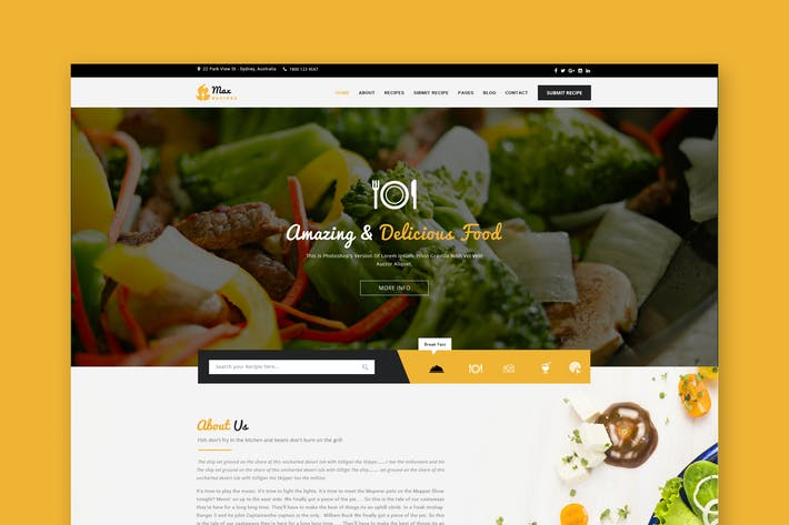 Thumbnail for Food & Recipes PSD Template