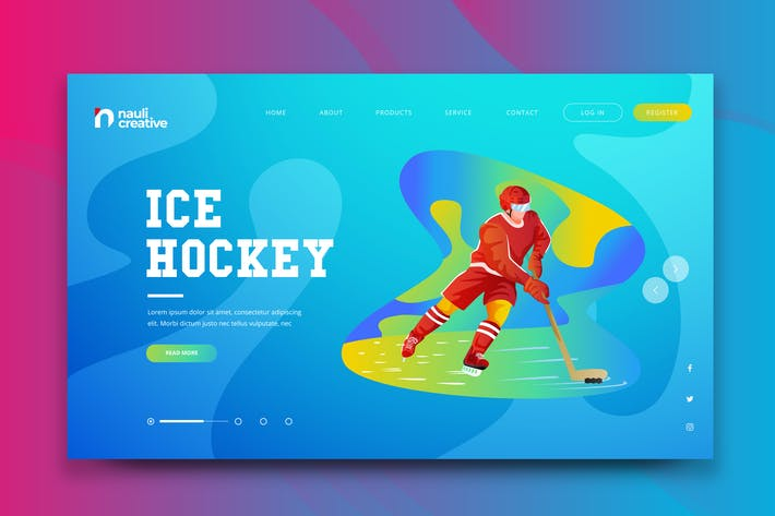 Thumbnail for Ice Hockey Sports Web PSD and AI Vector Template