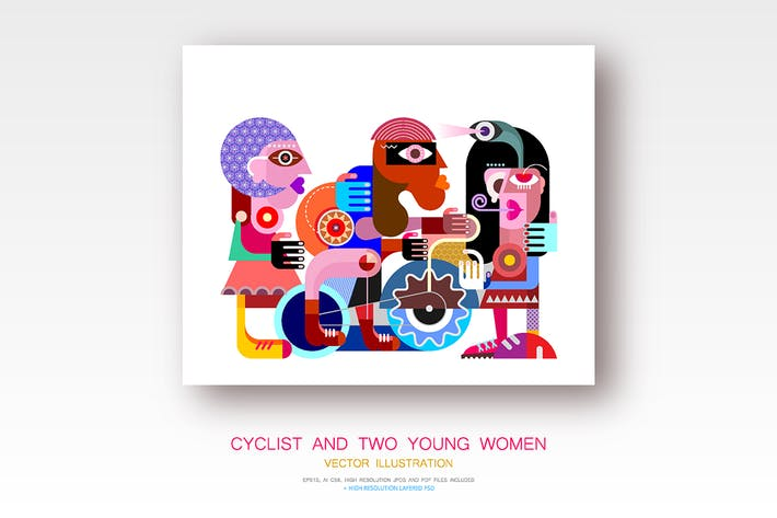 Thumbnail for Cyclist and Two Women vector illustration