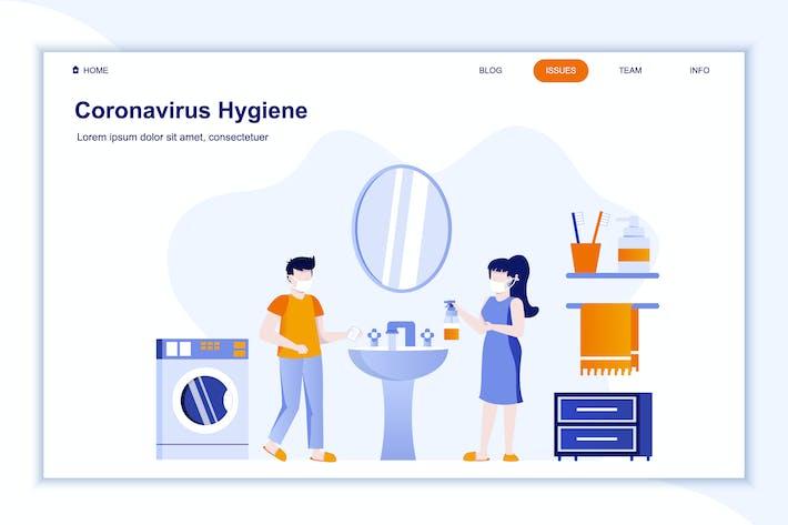Thumbnail for Coronavirus Hygiene Landing Page Flat Concept