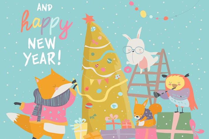 Thumbnail for Niedliche Weihnachts-Grußkarte mit glücklichen Tieren.