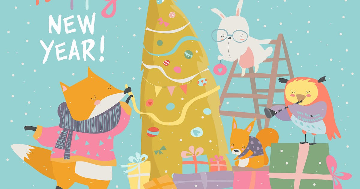 Download Cute Christmas greeting card with happy animals. by masastarus