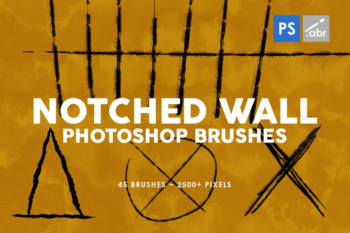 Thumbnail for 45 Notched Wall Photoshop Stamp Brushes