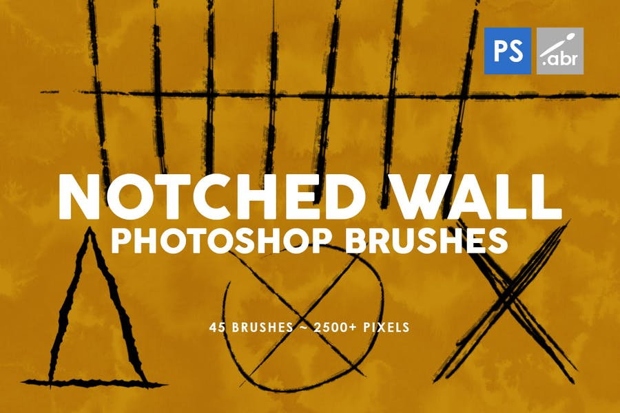 45 Notched Wall Photoshop Stamp Brushes
