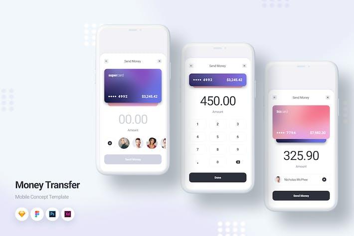 Thumbnail for Money Transfer - Finance Mobile UI Kit Template