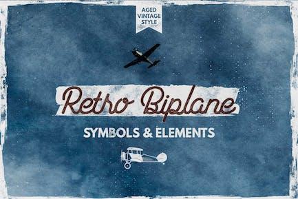 Retro Biplane Symbols & Elements for Logo Creation