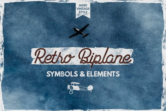 Thumbnail for Retro Biplane Symbols & Elements for Logo Creation