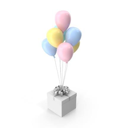 Geschenkbox mit Schleife und bunten Ballons