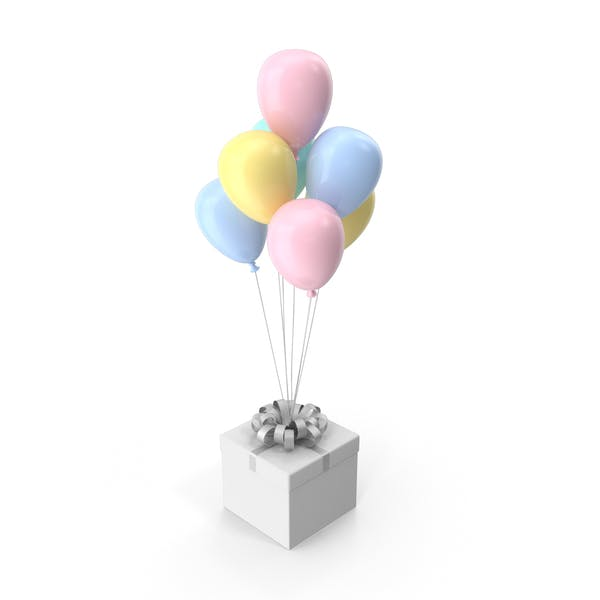 Gift Box with Ribbon and Multicolored Ballons